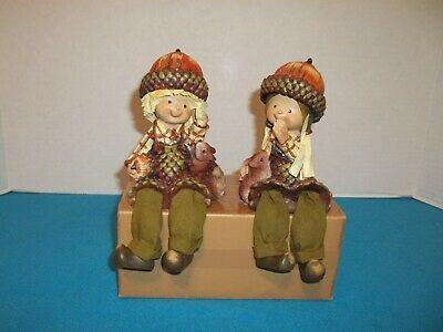 Set Of 2  Hobby Lobby Figurines - A Boy & A Girl With Acorn Hats](Lobby Boy Hat)