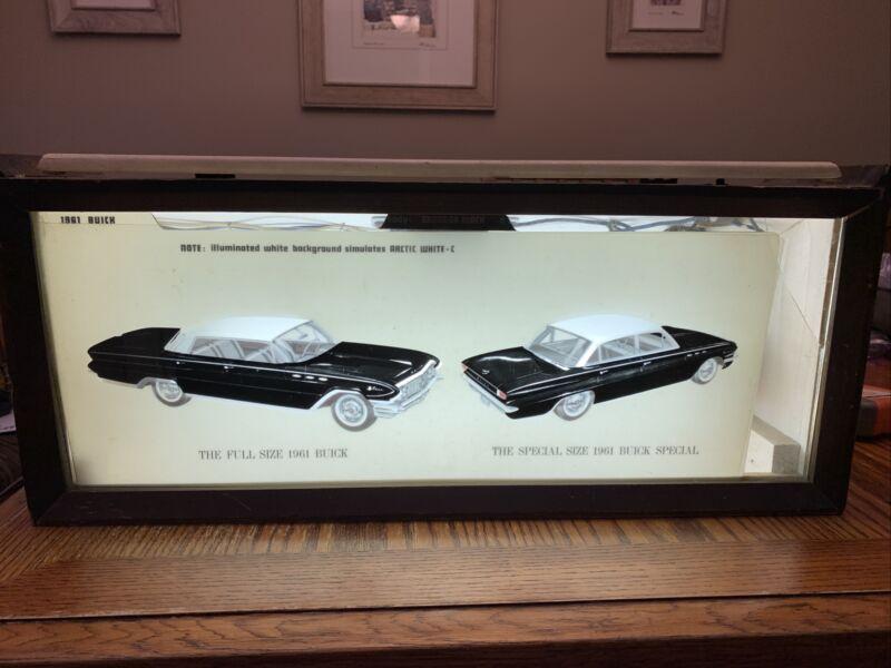 1961 Buick Dealership Lighted Wooden Countertop Car Option Display Box-RARE!!!