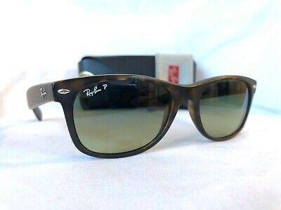 Ray Ban New Wayfarer Sunglasses RB2132 Matte Tortoise Frame 55mm Polarized Lens