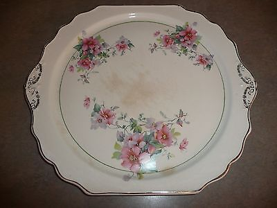 Vintage China Serving Plate PLATTER Pink and Purple Flowers Silver Trim ()