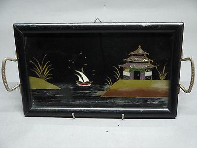 """!!! Schönes, kleines Griff-Tablett, """"asiatische Szene"""", um 1900 !!!"""