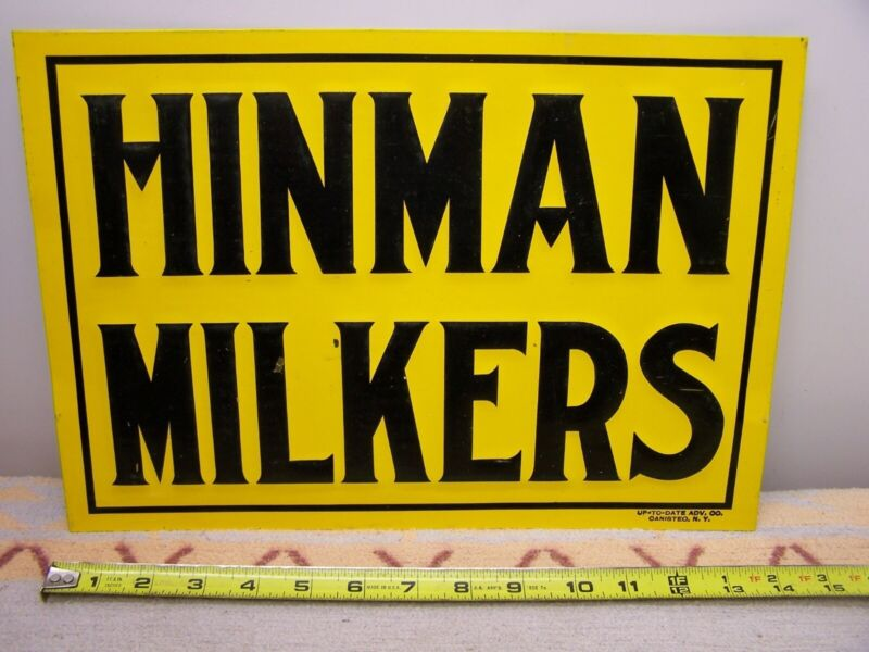 EARLY ORIG HINMANS MILKER SIGN UP TO DATE ADV CO OANISTEO NY DAIRY COW EMBOSSED