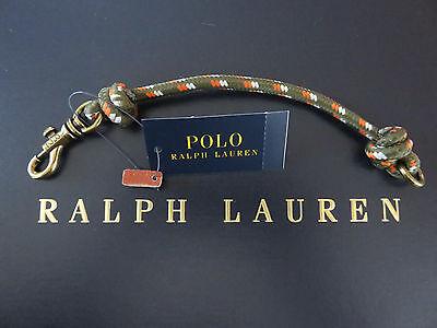 NEW RALPH LAUREN Men's Olive Nylon Wristband Wrist Strap with Brass Claw Closure
