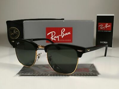 Ray-Ban Clubmaster Sunglasses RB3016 W0365 Black Frame/G-15 Green Lens (Ray Ban Rb3016 W0365)