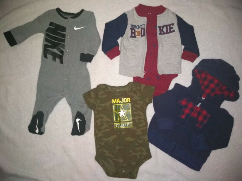 NIKE 9 Months Baby Boy ADORABLE Black & Gray + 2 jackets + 2 one pieces 6-9M 5