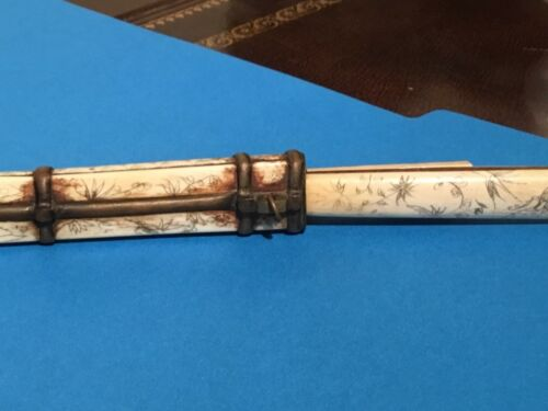 Antique Chinese Bone Knife case plus chopsticks & case with etched landscapes