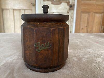 Vintage Oak Tea Caddy Barrell With Zinc Liner