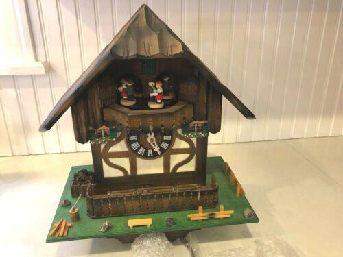 Vintage New CUENDET Chalet Cuckoo Clock Holiday In Switzerland Edelweiss