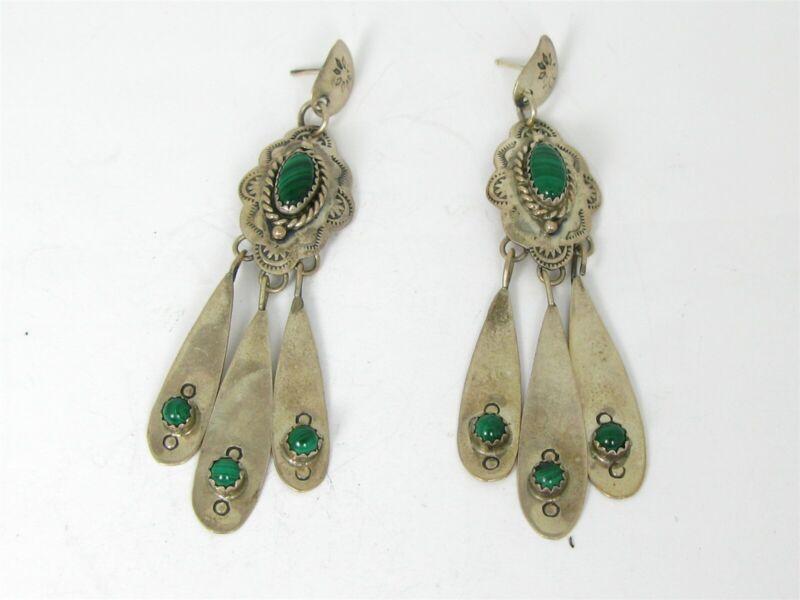 Vintage Sterling Silver Leo Harvey Navajo Malachite Dangle Earrings 15.1g B39
