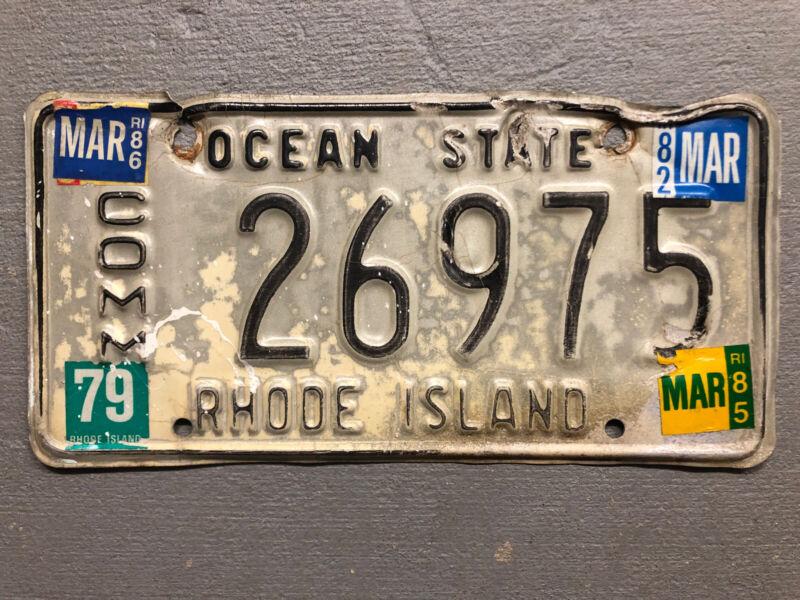 VINTAGE  RHODE ISLAND LICENSE PLATE OCEAN STATE 26975 COMMERCIAL 1979-86 STICKER