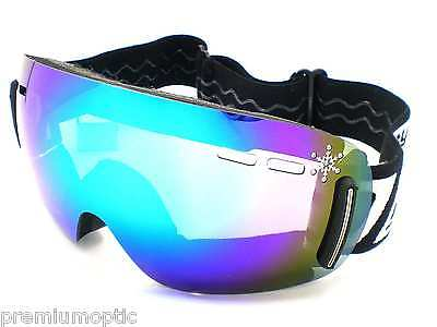 DIRTY DOG ladies Frameless FLIP Ski Snowboard Goggles Blue MIRROR 54101