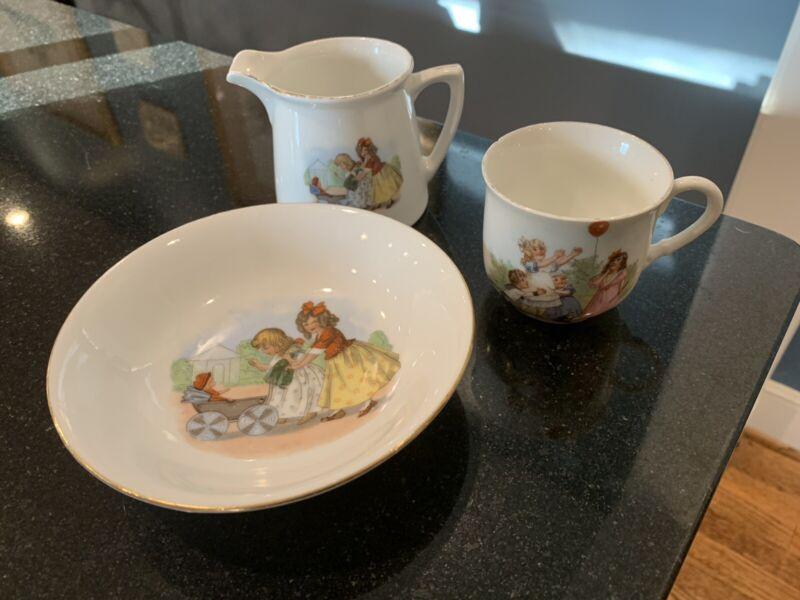Antique Victorian Child's German Transfer Set 3 Pieces Porcelain