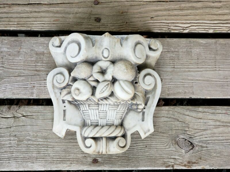 Antique Marble Fireplace Keystone Architectural Fragment