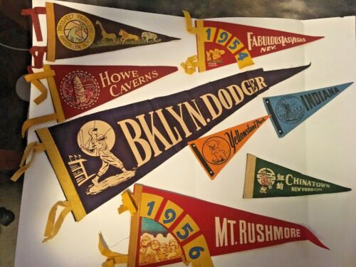 Lot of Vintage Pennants  ( 26 ) some from 1950