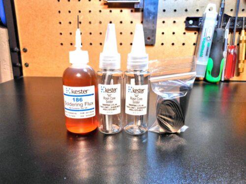 Kester #44 Rosin Solder & Kester 186 RMA Flux, Heat Shrink 3mm,6mm,1/2in Pro Kit