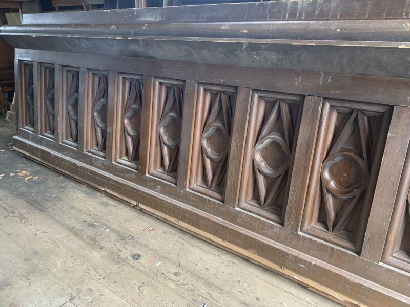11.5' Antique Gothic Revival Solid Oak Church Bar Front