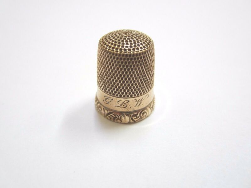 ANTIQUE 10K YELLOW GOLD SEWING THIMBLE  SIZE 7
