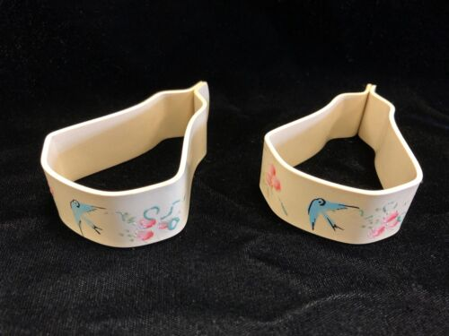 Pair Vintage Baby Carriage Blanket Celluloid Clips Hand Painted