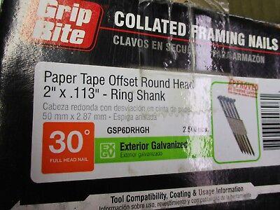 600 Of 2 Grip Rite Collated Nails. Galvanized Ring Sh. Paper 30 Deg. Round Head