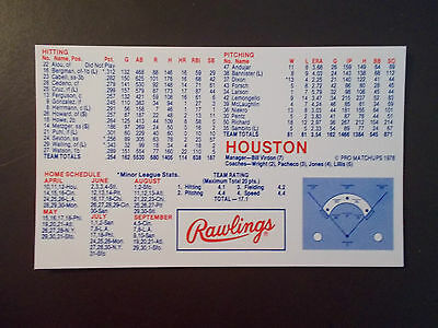 Houston Astros 1978 Mlb Schedule   Roster   Rawlings