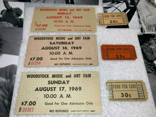 WOODSTOCK 1969 $7 MAIL ORDER TICKET LOT w FOOD FOR LOVE COUPONS JIMI HENDRIX