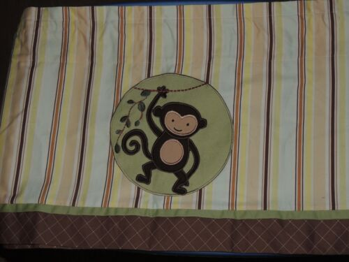 LAMBS & IVY MONKEY VALANCE STRIPE GREEN BROWN YELLOW 58 X 16