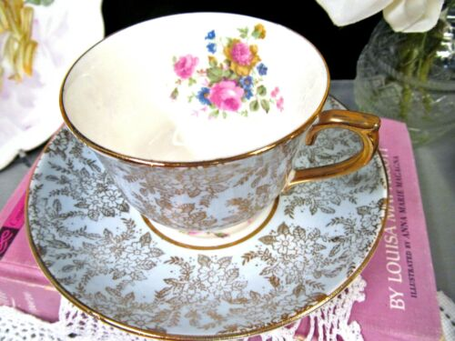 COLCLOUGH tea cup and saucer BLUE chintz pattern teacup pink rose England 1930s