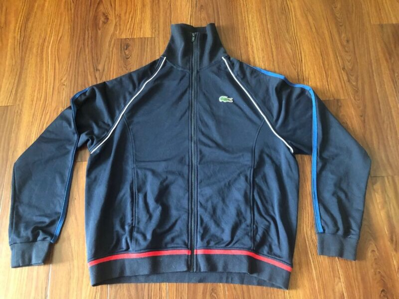 Lacoste Sport Mens Size 8 Navy Track Jacket Coat Sweatshirt Tennis Andy Roddick