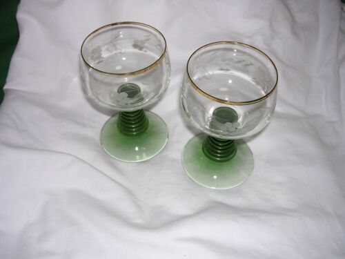 #A 2 Vintage German Roemer Wine Glass Gold Rim Green Beehive Stem Goblets Grapes