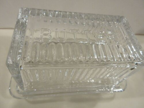UNUSUAL CRYSTAL ONE POUND DEPRESSION ERA BUTTER DISH VINTAGE