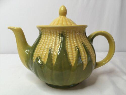 "Vintage Shawnee Corn King Teapot & Lid 4 7/8"" #75 4 Cup Yellow Corn Green Shuck"