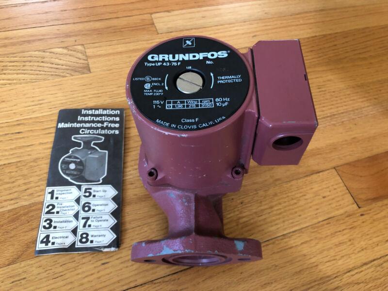 New Grundfos UP43-75F Circular Cast Iron Pump - 115 Volts