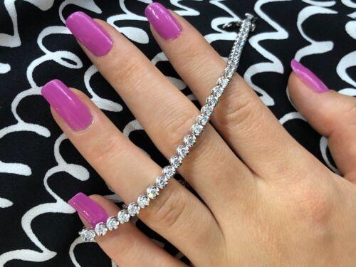 "3.00 Ct Diamond Tennis Bracelet 14k White Gold F/SI1 7"" Lab Grown Eco Friendly"
