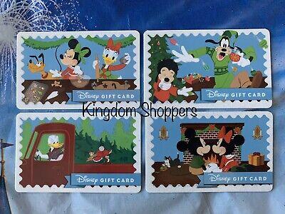 2019 Christmas Holiday Disney Gift Card Set of 4 $0 Balance Mickey Minnie Goofy ()