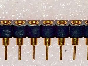 Machined Pin Header socket single row, Female 32 position 2.54mm FULL GOLD Plate