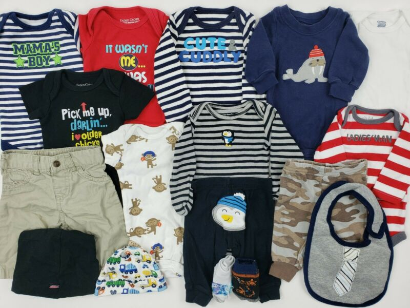 Boys Clothes Lot 0-3 Months Nb Oshkosh Carters Gerber.. Onesies Newborn Hat Baby