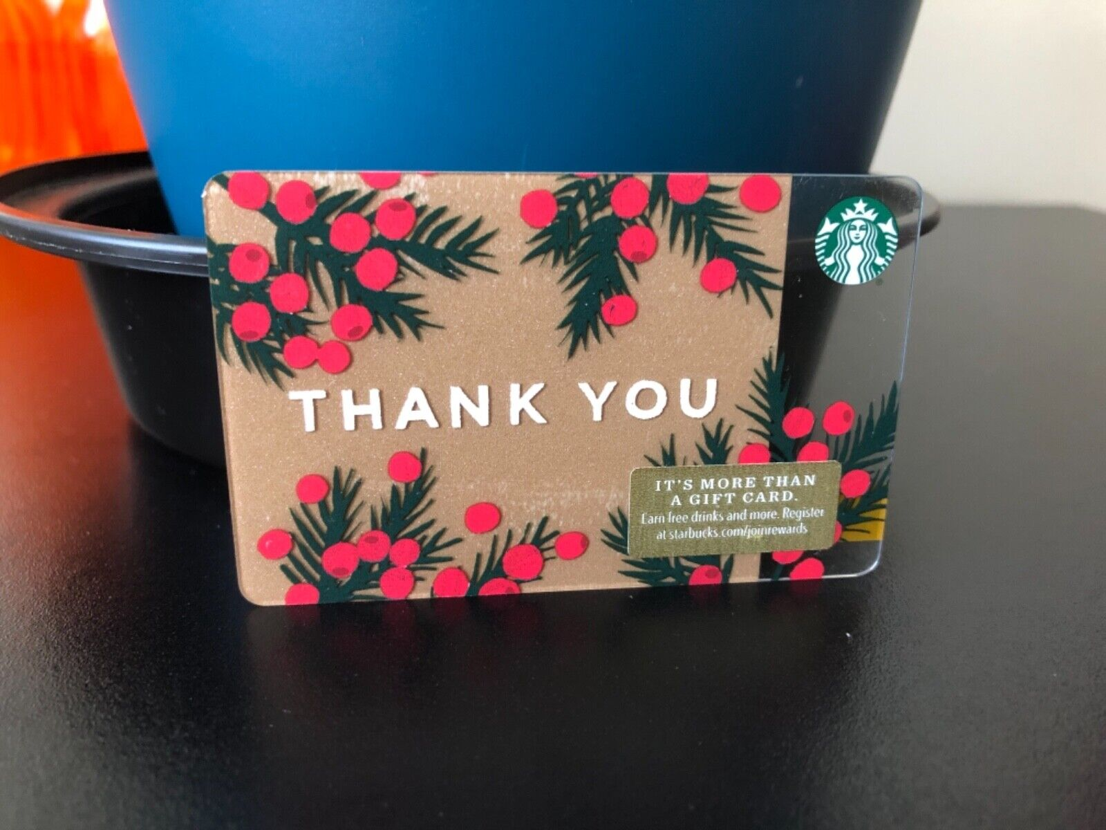 New Reloadable Thank You With Mistletoe Starbucks Gift Card Empty  - $3.25