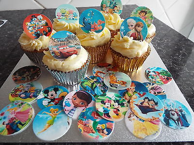 24 Disney Theme Cup Cake Toppers Edible Wafer Paper Precut (Cup Cake Toppers)