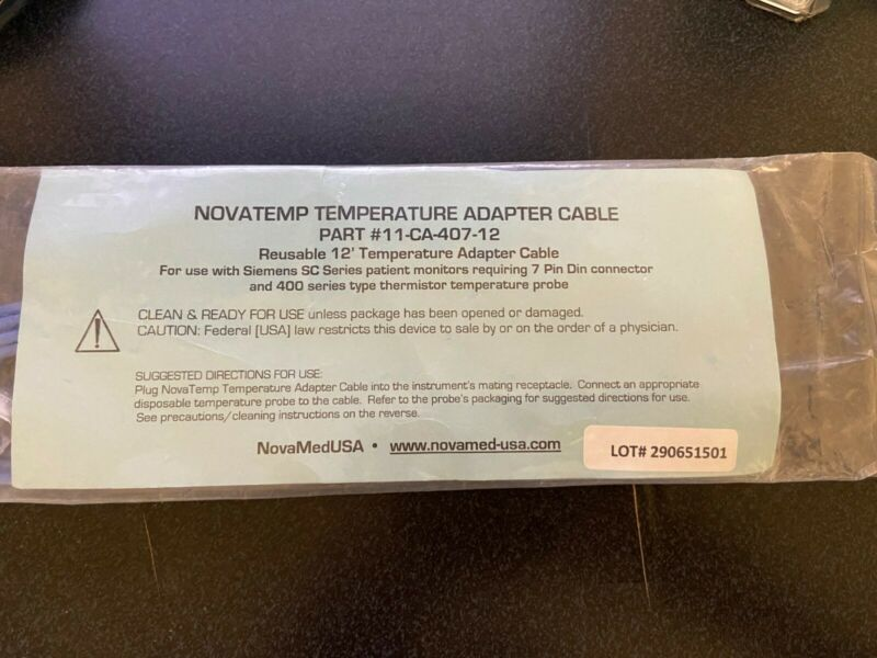 Novamed NOVATEMP® #11-CA-407-12 Reusable Temperature Adaptor Cable