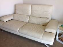 Cream Leather Couch / Lounge / Sofa Hendon Charles Sturt Area Preview