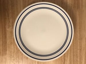 Corelle dinner plates with blue stripe