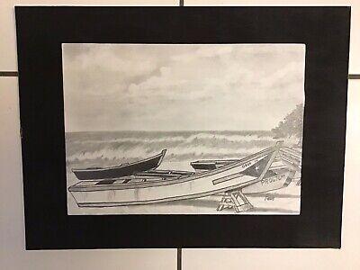 """Pencil Sketch of """"Crash Boat Beach II"""" Aguadilla, Puerto Rico"""