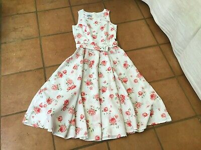 LAURA ASHLEY. PRETTY VINTAGE  COTTON LADIES DRESS -SUMMER RED ROSES !