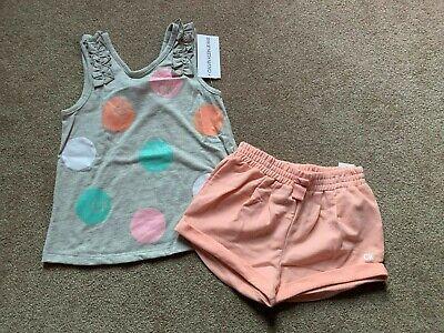 Girls 2 piece Calvin Klein Short & Polka Dot Ruffle Tank Top Outfit Set - Size 6