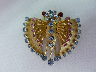 Vintage Textured Gold Tone Pink Blue Red Rhinestone Butterfly Bug Bird Brooch Butterfly Ruby Brooch