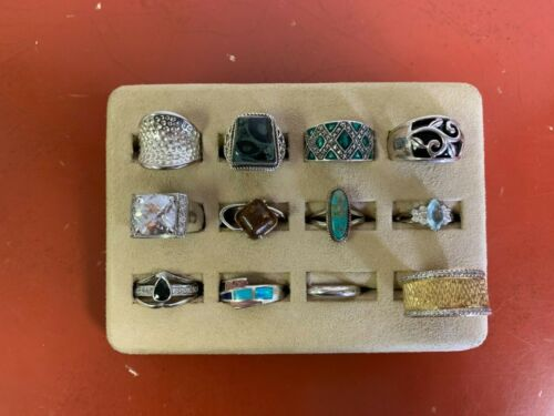 Set Of 12 Sterling Silver Rings Assorted Styles Sizes 7 to 9 Lot #16