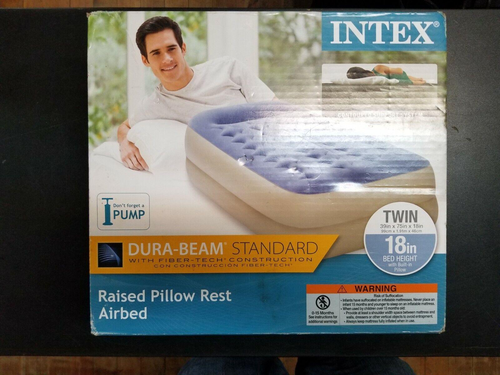 "INTEX TWIN 18"" DURA-BEAM STANDARD PILLOW RAISED AIR MATTRESS"
