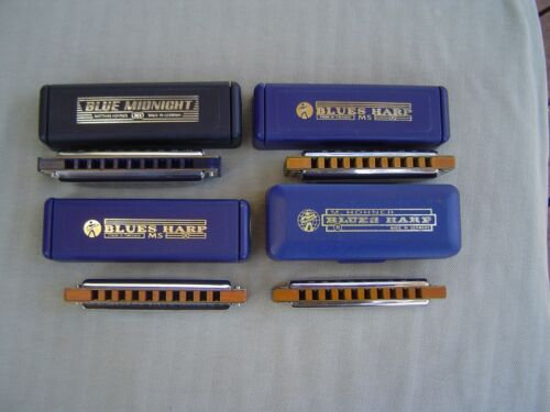 COLLECTION OF 4 BLUES HARP HARMONICAS WITH ORIGINAL CASES