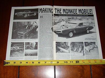 MONKEE MOBILE PONTIAC GTO DEAN JEFFRIES THE MONKEES - ORIGINAL 1988 ARTICLE