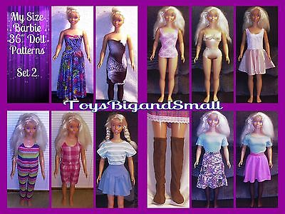 Set 2 - 6 Pattern Set Wardrobe for My Size Barbie Dolls